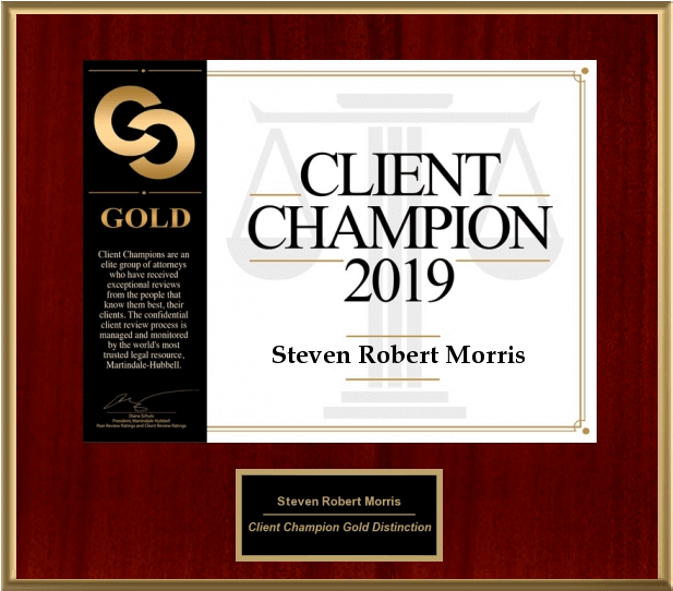 Steve Morris' Client Champion Award Plaque