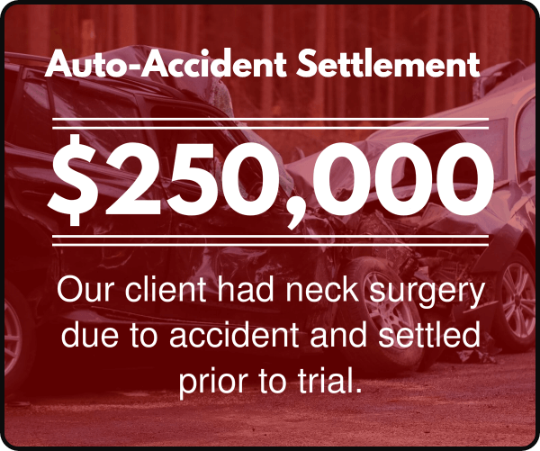 Our client had neck surgery due to accident and settled prior to trial.