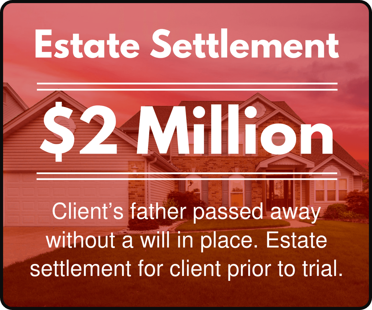 Client's father passed away without a will in place. Estate settlement for client prior to trial.