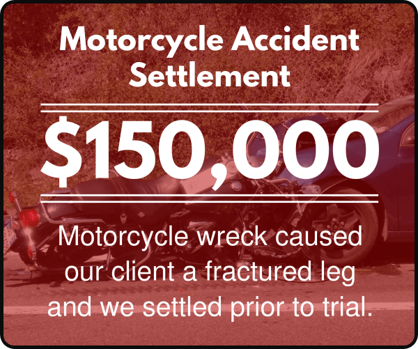Motorcycle wreck caused our client a fractured leg and we settled prior to trial